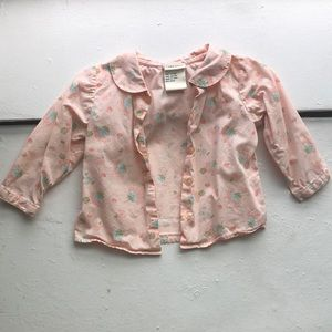 Laura Ashley pink pastel floral button up 12m